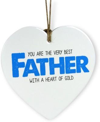 Archies Best Father Heart Quotation Showpiece  -  15.3 cm(Ceramic, White)