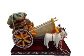 Kondapally Handicrafts - Bullock Cart Showpiece - 17 cm(Wooden, Multicolor)