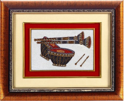 Aapno Rajasthan Shehnai & Tabla Motif Showpiece  -  28 cm(Stoneware, Wooden, Multicolor)