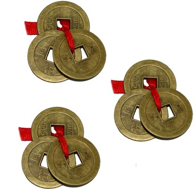 Aaradhi Sets Of 3 Feng Shui 3 Chinese Coins For Prosperity Showpiece - 2.5 cm