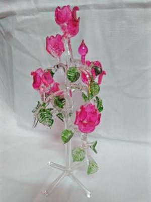 Nogaiya sw21 Showpiece  -  25 cm(Glass, Pink)