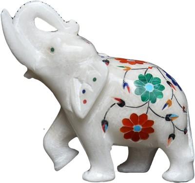 Kaushal Creation White Marble Elephant Showpiece  -  8 cm