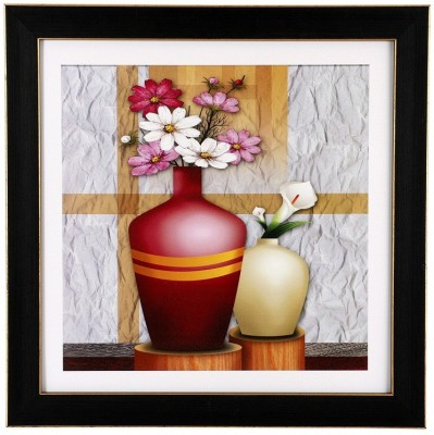 BM Traders Textured Flower Vase Wall Hanging Frame Showpiece  -  30.48 cm