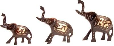Inspiration World Brass Vintage Elephant Set 3 Showpiece  -  13 cm