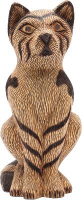 Furncoms Sitting Cat 3 Line Design Showpiece  -  21 cm