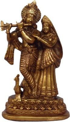 Quality Mart Radha Krishna Ji Brass Idol Showpiece  -  15 cm