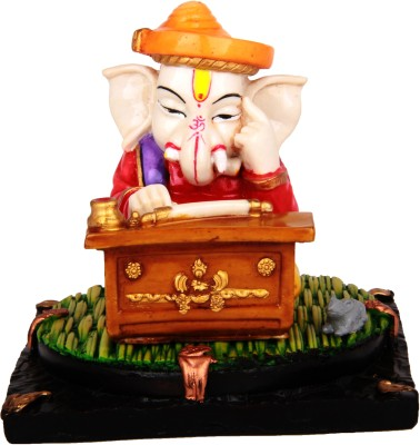 Adaa Munim Ganesha Doing Accounts Showpiece  -  10 cm