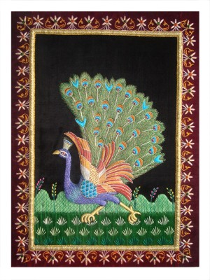 Haveli Arts Hand Embroidery peacock Showpiece  -  55 cm
