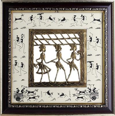 Lord Krishna Handicrafts Antique Dokra Wall Hanging Frame Showpiece  -  26 cm