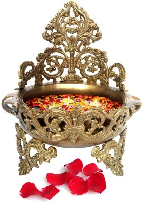 Aakrati Decorative Brass Urli - Floating Flower Pot Showpiece  -  26 cm(Brass, Brown, Yellow)