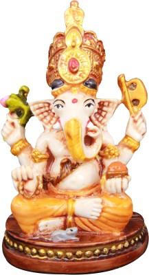 Adaa Siddhivinayak Sitting on Base (Orange) Showpiece  -  7.62 cm