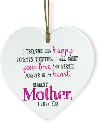 Archies Love You Mommy Heart Quotation Showpiece  -  15.3 cm(Ceramic, White)