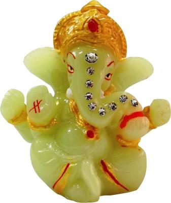 Bulb Centre Hindu God Idol Radium Mukut Ganesh Temple for Car Dashboard Showpiece  -  8 cm