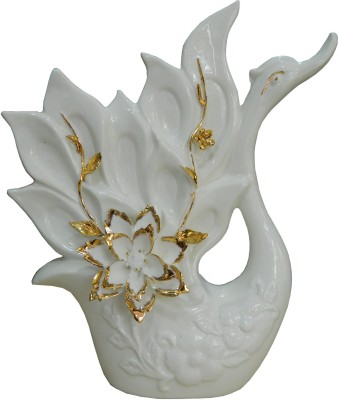 GiftsGannet Antique Ceramic Swan Showpiece  -  29 cm
