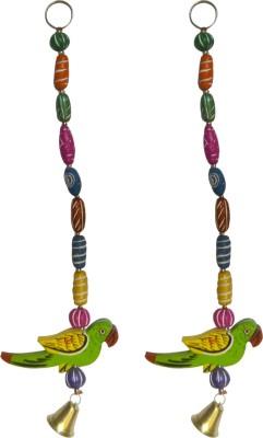 swadesibuyzzar Set of 2 Door Chain Parrot Figure 1 Feet Long Wooden, Ceramic Jharokha