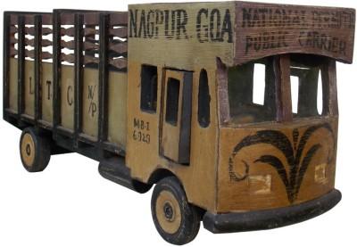 Indune Lifestyle Hand Painted Distress Finish Indian Truck Wine Bottle Holder Showpiece  -  25 cm