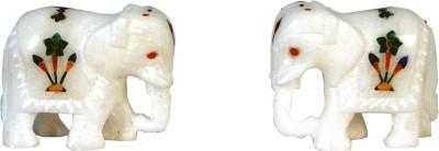 Avinash Handicrafts White alabaster inlaid Elephant Showpiece  -  5 cm