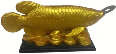Plus Value Fengshui Arowana Fish - Strong Wealth symbol - Best Selling Fengshui Product Showpiece  -  5 cm(Microfibre, Gold)