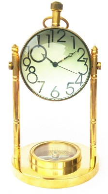 Kartique Compass n Table Clock Showpiece  -  13 cm(Brass, Gold)