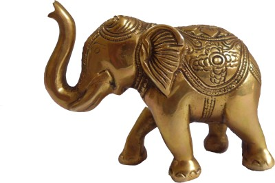 Quality Mart Exclusive Designer Elephant Brass Masterpiece Showpiece  -  11 cm