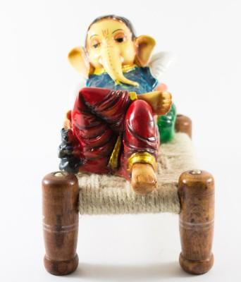 GiftsCellar Ganesh ji Sitting On Charpai Showpiece  -  15 cm