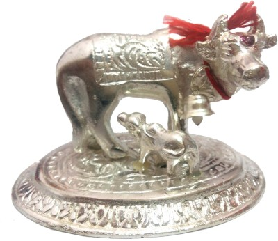 VASTUGHAR MATA KAMDHENU WITH CALF STATUE IN WHITE METAL Showpiece  -  5 cm(Iron, White)