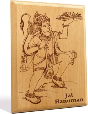 Tiedribbons Jai Hanuman Engraved Plaque Showpiece  -  18 cm(Wooden, Brown)
