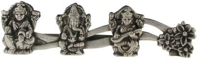 Treta 925 Sterling Silver Flowerish Trio of Goddess laxmi Goddess Saraswati and Lord Ganesha Showpiece  -  10 cm