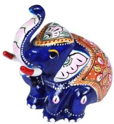 Bigshoponline Hand Made Antique Sitted Elephant Showpiece  -  5 cm