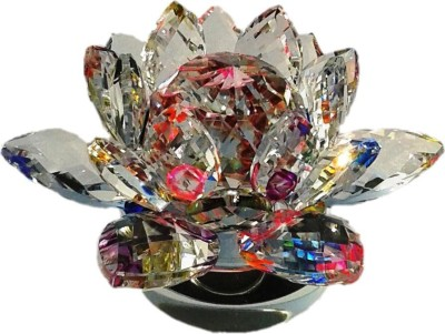 Gooddeals Glittering Crystal Lotus Flower With Revolving Stand Fengshui Showpiece  -  8 cm