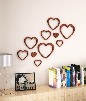 Home Sparkle Set of 10 Wooden Hearts Stickers Showpiece  -  15.24 cm(Wooden, Brown)