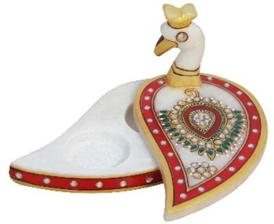 Handicrafts Paradise Marble Peacock Chopra Showpiece  -  7.5 cm