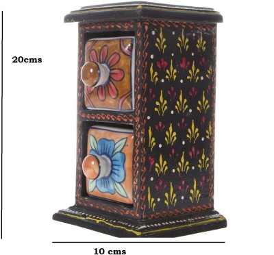 Smile2u Retailers Wooden and ceramic rajasthani art worked drawers Showpiece  -  20 cm(Wooden, Ceramic, Multicolor)