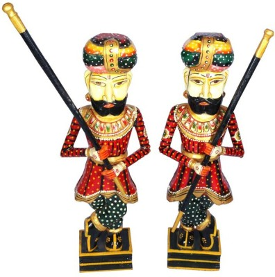 Surface 180 Set of 2 Rajasthani Wooden Watch Man With Hand Painting Showpiece  -  76 cm