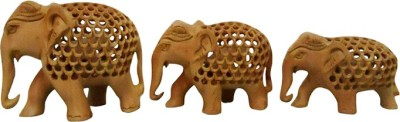 ByCue Wooden Elephant Showpiece  -  5 cm(Wooden, Brown)