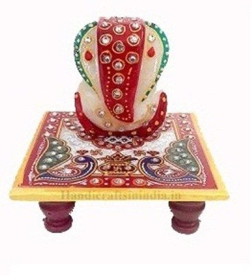 Chave Marble Ganesh Chaturthi Special Ganpati with Chowki and beautiful Rajasthani Meenakari Painting on it (2.5