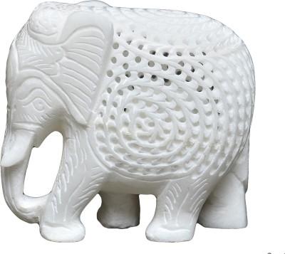 Artist Haat Marble Elephant Sculpture Showpiece  -  10 cm