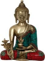 Aesthetic Decors Buddha Medicine Asthmangal W Stone Work Showpiece  -  20.3 cm(Brass, Multicolor)