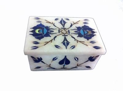 Unique Handicrafts Inlaid Marble Box Showpiece  -  4.5 cm