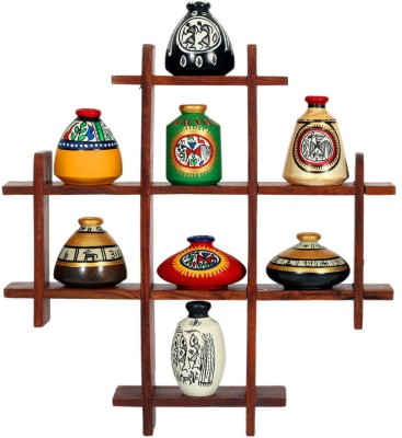Indikala Decoration Stand With Eight Elegant Pots Wooden Wall Shelf