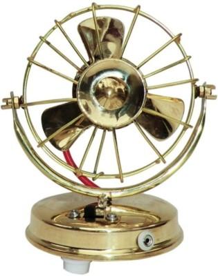 HD Crafts Brass Handcrafted Working Fan Showpiece  -  15 cm(Brass, Gold)