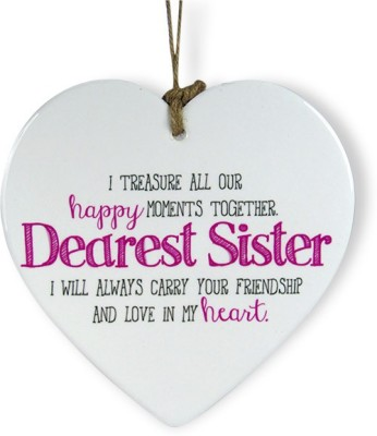 Archies Love You A Lot Sis Heart Quotation Showpiece  -  15.3 cm(Ceramic, White)