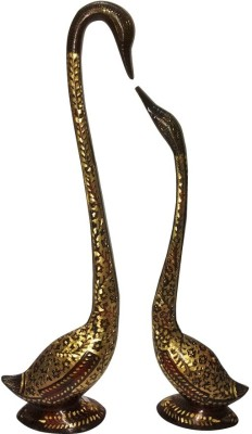 Inspiration World Brass Vintage Carving Swan Pair Showpiece  -  23 cm(Brass, Brown)