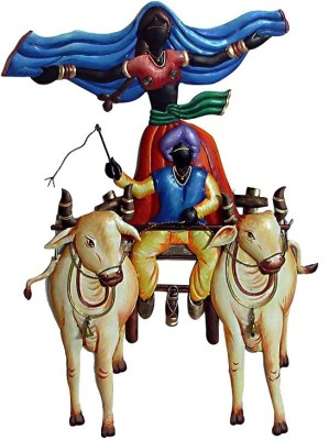 Karigaari Couples on Bullock cart Iron Hanging Showpiece  -  61 cm