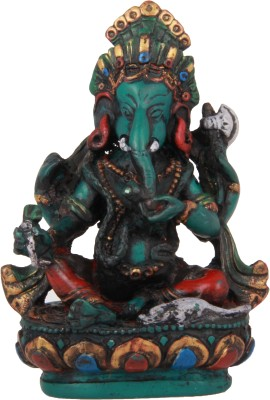 Adaa Lord Ganesha Sitting On Lotus (Green) Showpiece  -  11 cm