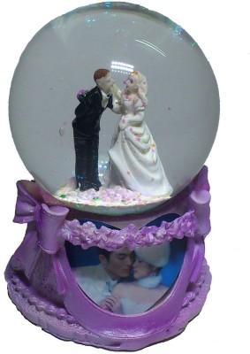 De BlueMix Musical Revolving Dancing Couple Figurine Gift Glass Globe Showpiece  -  12 cm