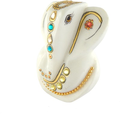 Chave Pure White Marble Ganesha ( Ganeshji ) with Real Hand Painting of Rajasthan Showpiece  -  8 cm