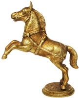 Aakrati Brass Jumping Horse Statue Decorative Gift Made in Metal Showpiece  -  25 cm(Brass, Yellow)