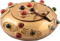 eCraftIndia Round Ash Tray Showpiece  -  3 cm(Brass, Gold)
