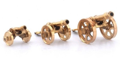 Being Nawab Pair of 3 Small Brass Cannon Showpiece  -  8 cm